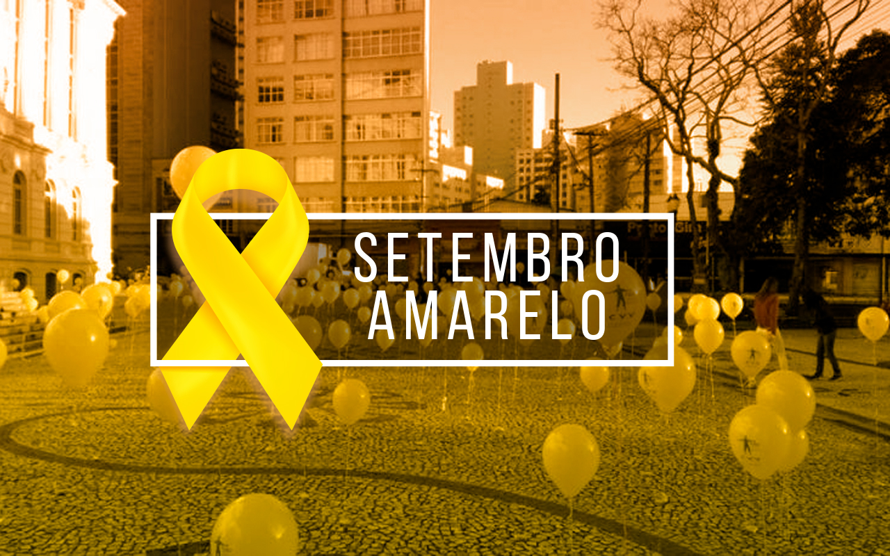Setembro Amarelo - cidade com balões amarelos no fundo