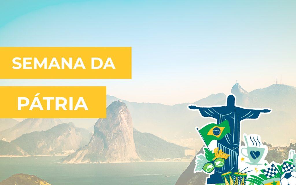 semana da pátria - paisagem do Rio de Janeiro com cartoon do Cristo Redentor e outras coisas tipicamente brasileiras