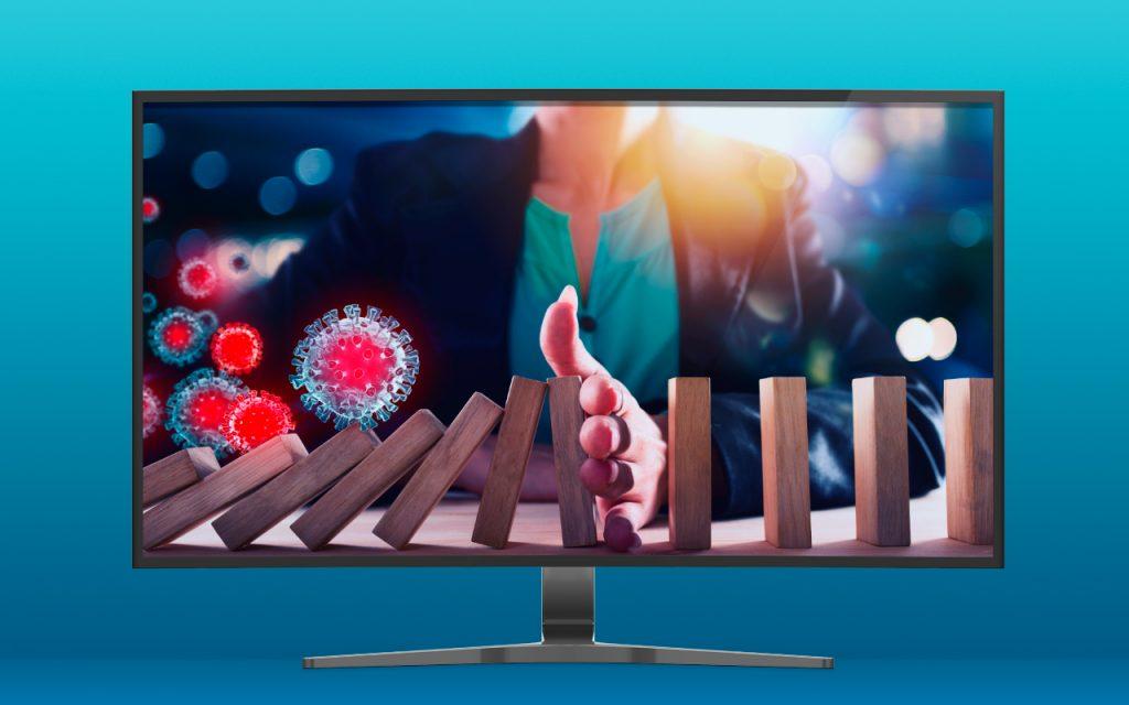 tela de TV mostrando a mão de uma pessoa parando um problema