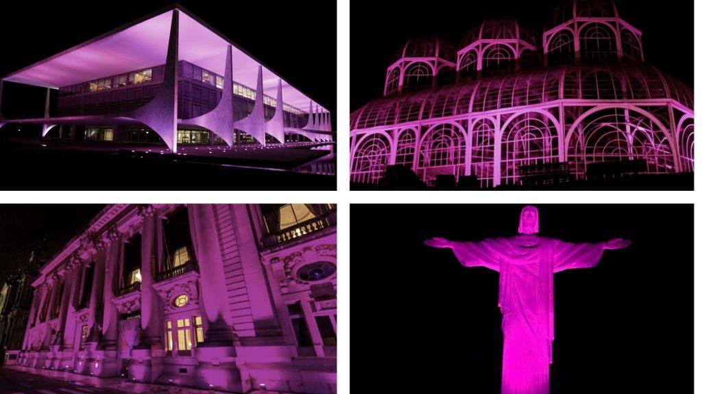 Monumentos iluminados para o Outubro Rosa
